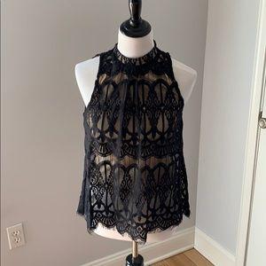 Nude illusion blouse top lace black